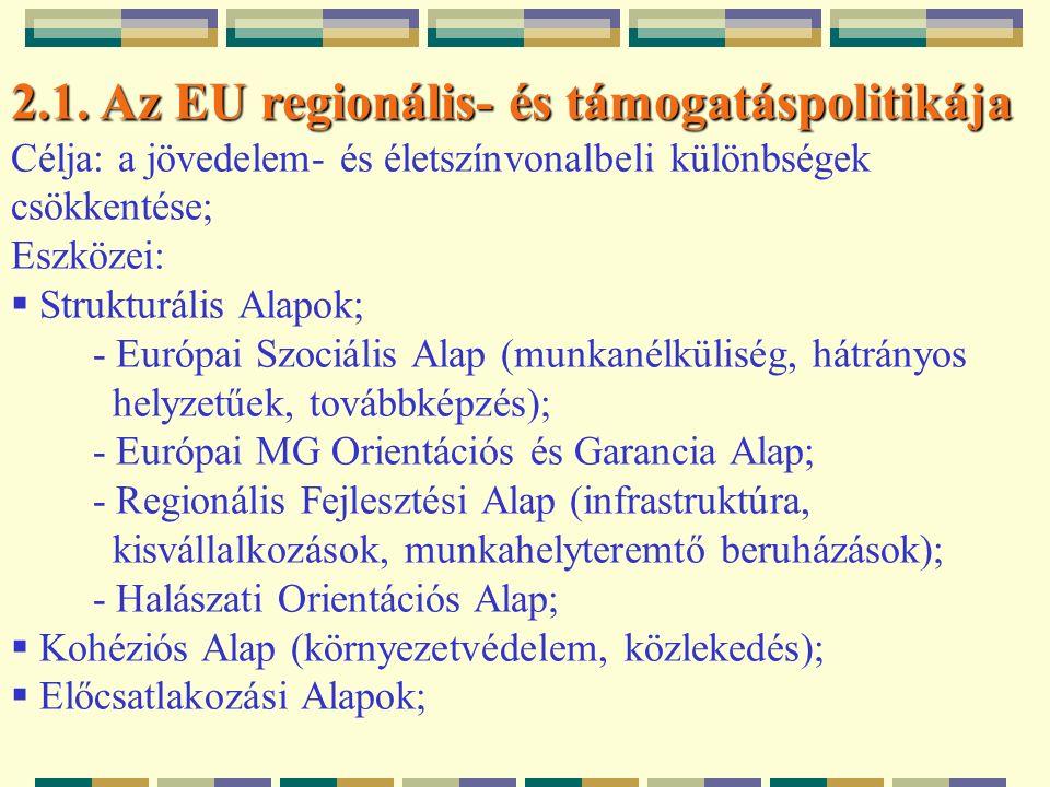 2.1. Az EU regionális- és támogatáspolitikája Célja: a jövedelem- és életszínvonalbeli különbségek csökkentése; Eszközei:  Strukturális Alapok; - Eur