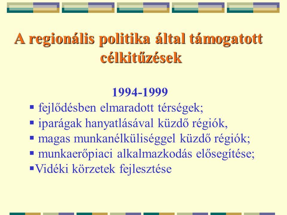 A regionális politika által támogatott célkitűzések 1994-1999  fejlődésben elmaradott térségek;  iparágak hanyatlásával küzdő régiók,  magas munkanélküliséggel küzdő régiók;  munkaerőpiaci alkalmazkodás elősegítése;  Vidéki körzetek fejlesztése