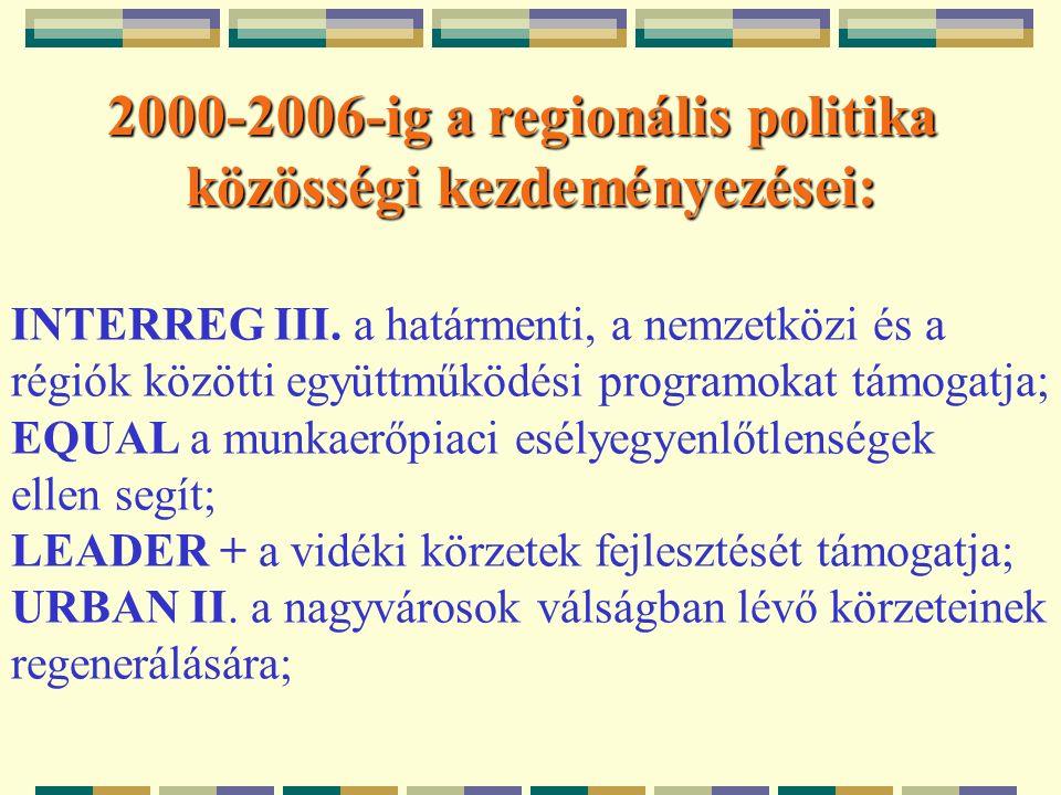 2000-2006-ig a regionális politika közösségi kezdeményezései: INTERREG III.