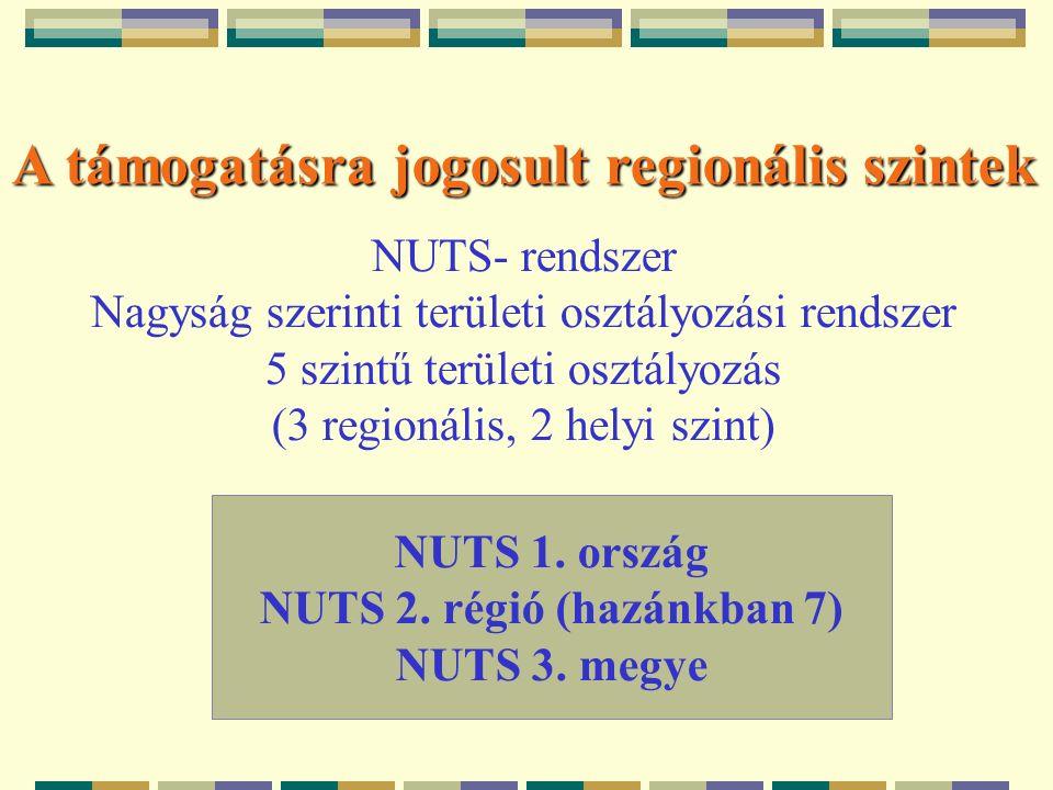 A támogatásra jogosult regionális szintek NUTS- rendszer Nagyság szerinti területi osztályozási rendszer 5 szintű területi osztályozás (3 regionális, 2 helyi szint) NUTS 1.