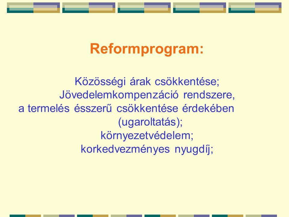 Reformprogram: Közösségi árak csökkentése; Jövedelemkompenzáció rendszere, a termelés ésszerű csökkentése érdekében (ugaroltatás); környezetvédelem; korkedvezményes nyugdíj;