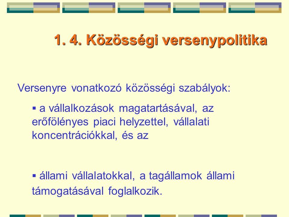 1. 4. Közösségi versenypolitika 1. 4.