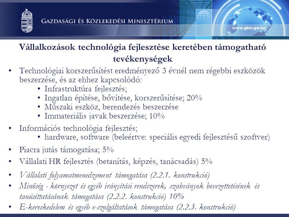 Vállalkozások technológia fejlesztése keretében támogatható tevékenységek Technológiai korszerűsítést eredményező 3 évnél nem régebbi eszközök beszerzése, és az ehhez kapcsolódó: Infrastruktúra fejlesztés; Ingatlan építése, bővítése, korszerűsítése; 20% Műszaki eszköz, berendezés beszerzése Immateriális javak beszerzése; 10% Információs technológia fejlesztés; hardware, software (beleértve: speciális egyedi fejlesztésű szoftver) Piacra jutás támogatása; 5% Vállalati HR fejlesztés (betanítás, képzés, tanácsadás) 5% Vállalati folyamatmenedzsment támogatása (2.2.1.