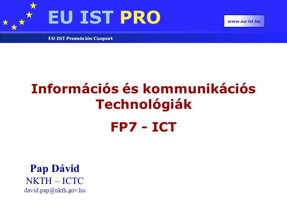 EU IST PRO EU IST Promóciós Csoport www.eu-ist.hu  Nincsenek költségmodellek  Audit csak 350000 EUR felett, 2 évnél rövidebb projektnek csak a végén szükséges  Kizárólag elektronikus pályázás  Értékelési kritériumok módosultak FP7 - változások