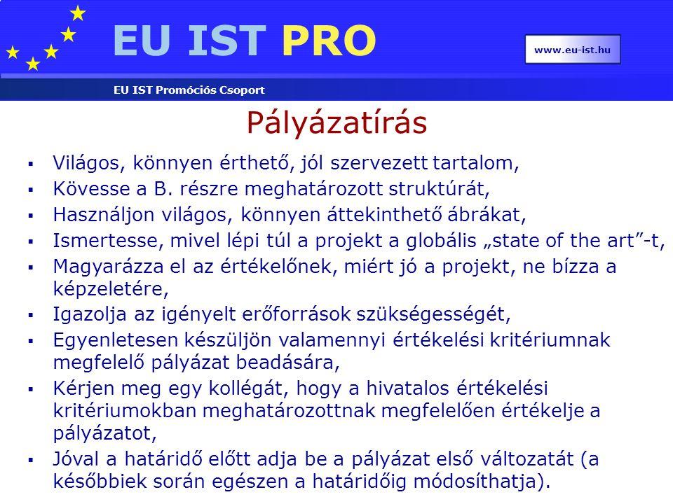 EU IST PRO EU IST Promóciós Csoport www.eu-ist.hu Pályázatírás  Világos, könnyen érthető, jól szervezett tartalom,  Kövesse a B. részre meghatározot