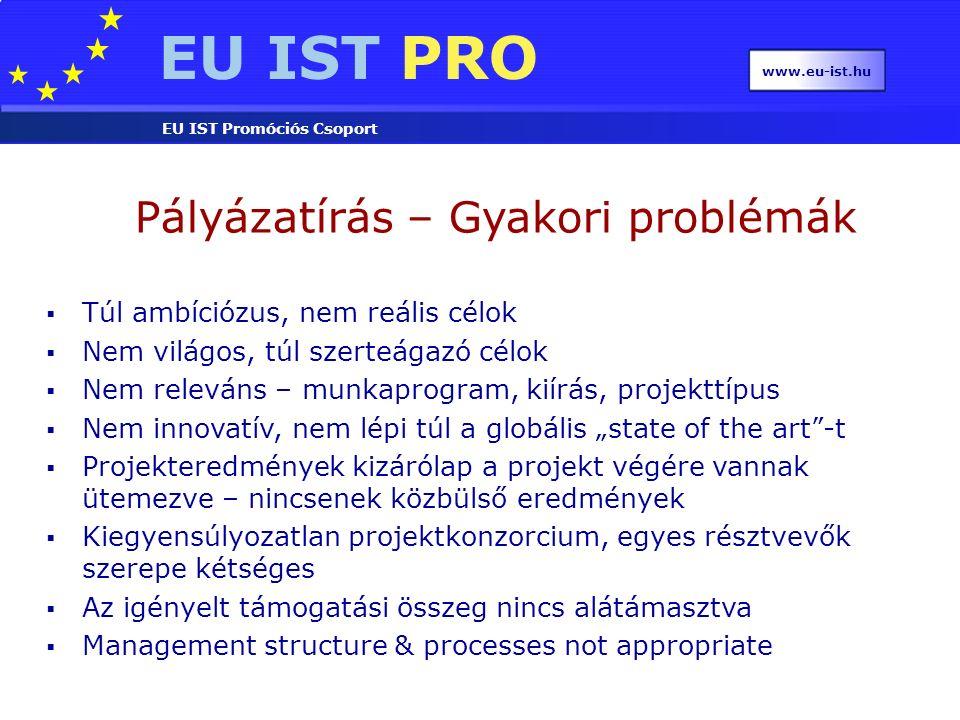 EU IST PRO EU IST Promóciós Csoport www.eu-ist.hu Pályázatírás – Gyakori problémák  Túl ambíciózus, nem reális célok  Nem világos, túl szerteágazó c