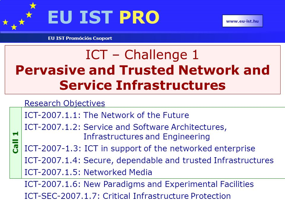EU IST PRO EU IST Promóciós Csoport www.eu-ist.hu ICT – Challenge 1 Pervasive and Trusted Network and Service Infrastructures Research Objectives ICT-2007.1.1: The Network of the Future ICT-2007.1.2: Service and Software Architectures, Infrastructures and Engineering ICT-2007-1.3: ICT in support of the networked enterprise ICT-2007.1.4: Secure, dependable and trusted Infrastructures ICT-2007.1.5: Networked Media ICT-2007.1.6: New Paradigms and Experimental Facilities ICT-SEC-2007.1.7: Critical Infrastructure Protection Call 1