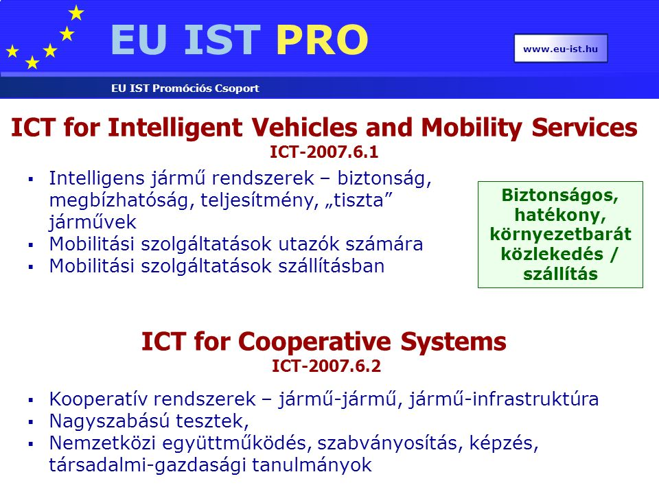 EU IST PRO EU IST Promóciós Csoport www.eu-ist.hu ICT for Intelligent Vehicles and Mobility Services ICT-2007.6.1 ICT for Cooperative Systems ICT-2007