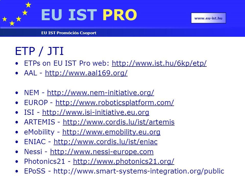 EU IST PRO EU IST Promóciós Csoport www.eu-ist.hu ETP / JTI ETPs on EU IST Pro web: http://www.ist.hu/6kp/etp/http://www.ist.hu/6kp/etp/ AAL - http://