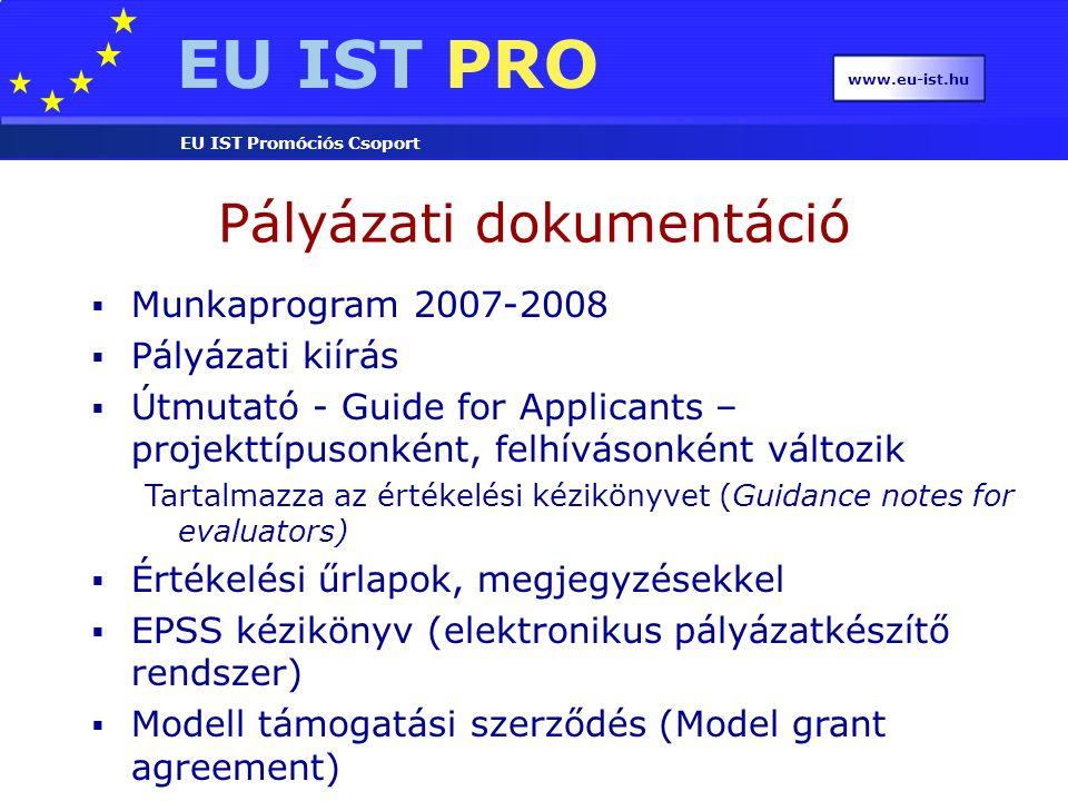 EU IST PRO EU IST Promóciós Csoport www.eu-ist.hu  Munkaprogram 2007-2008  Pályázati kiírás  Útmutató - Guide for Applicants – projekttípusonként,
