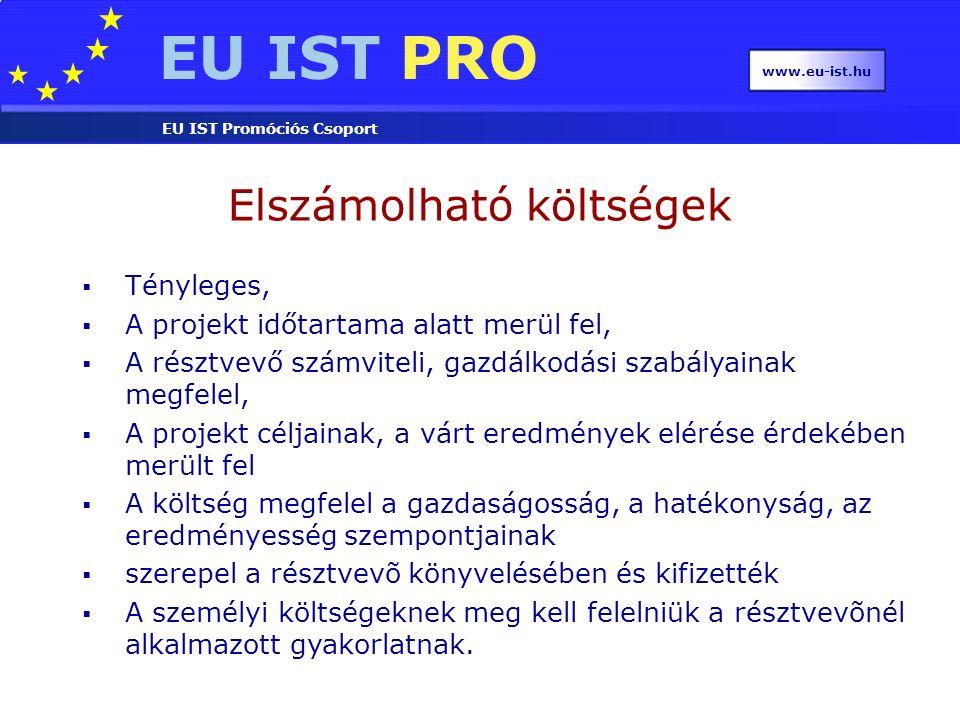 EU IST PRO EU IST Promóciós Csoport www.eu-ist.hu  azonosítható közvetett adók (áfa)  illetékek, kamatok  tartalékok a jövőbeni veszteségekre képezve  árfolyamveszteség  tőkehozamhoz kapcsolódó költség  más közösségi projektben már elszámolt költség  adósságterhek  túlzott, meggondolatlan kiadások Nem támogatható költségek