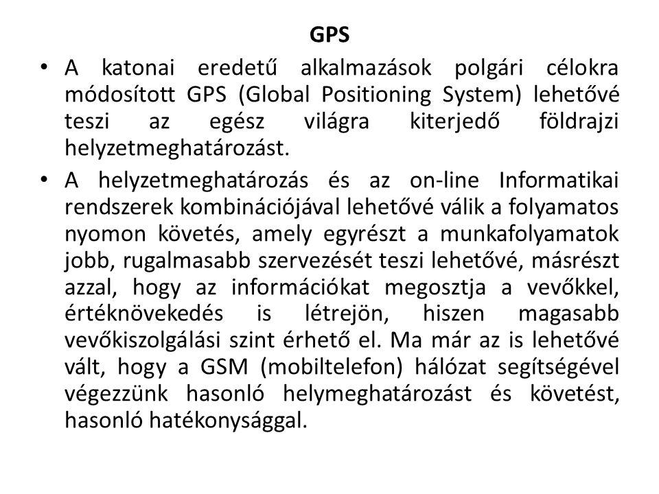 GPS A katonai eredetű alkalmazások polgári célokra módosított GPS (Global Positioning System) lehetővé teszi az egész világra kiterjedő földrajzi helyzetmeghatározást.