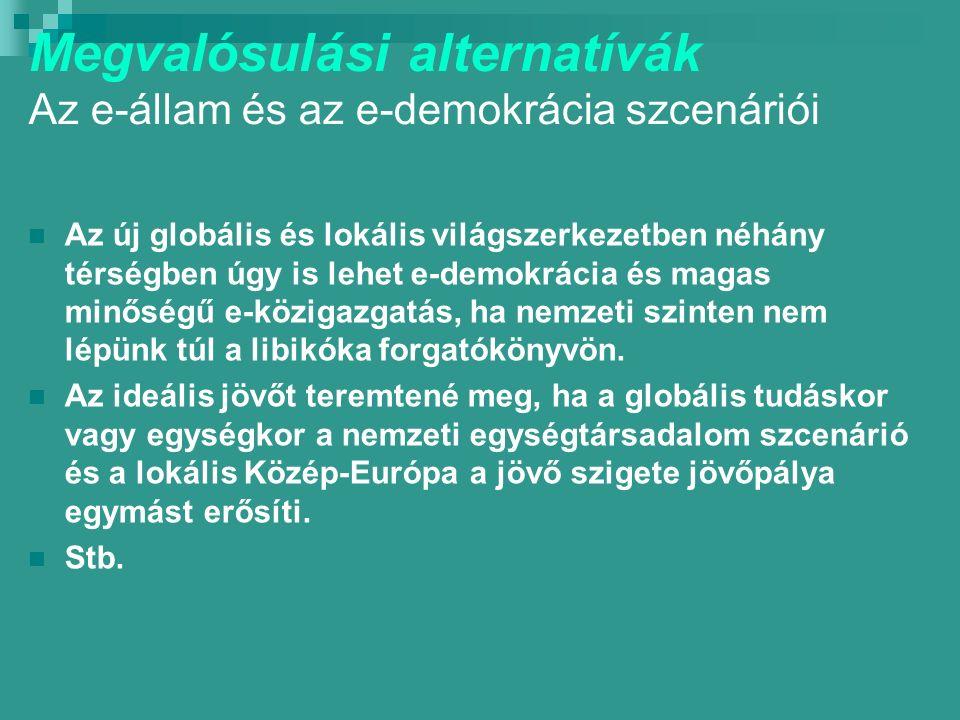 Megvalósulási alternatívák Az e-állam és az e-demokrácia szcenáriói Az új globális és lokális világszerkezetben néhány térségben úgy is lehet e-demokrácia és magas minőségű e-közigazgatás, ha nemzeti szinten nem lépünk túl a libikóka forgatókönyvön.