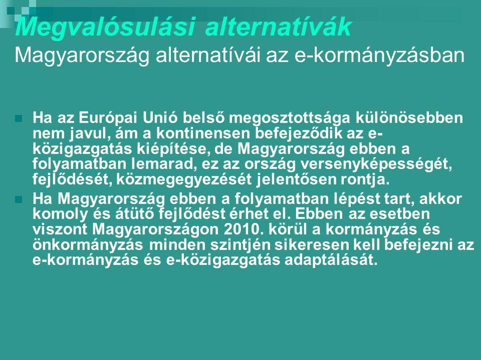 Megvalósulási alternatívák Magyarország alternatívái az e-kormányzásban Ha az Európai Unió belső megosztottsága különösebben nem javul, ám a kontinensen befejeződik az e- közigazgatás kiépítése, de Magyarország ebben a folyamatban lemarad, ez az ország versenyképességét, fejlődését, közmegegyezését jelentősen rontja.