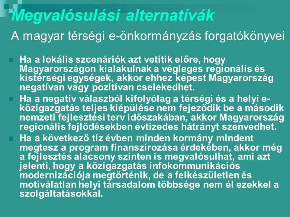 Megvalósulási alternatívák A magyar térségi e-önkormányzás forgatókönyvei Ha a lokális szcenáriók azt vetítik előre, hogy Magyarországon kialakulnak a végleges regionális és kistérségi egységek, akkor ehhez képest Magyarország negatívan vagy pozitívan cselekedhet.