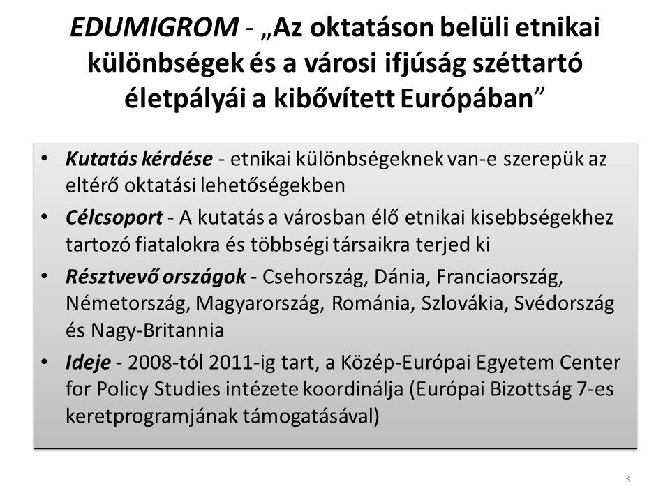 """EDUMIGROM - """"Az oktatáson belüli etnikai különbségek és a városi ifjúság széttartó életpályái a kibővített Európában Kutatás kérdése - etnikai különbségeknek van-e szerepük az eltérő oktatási lehetőségekben Célcsoport - A kutatás a városban élő etnikai kisebbségekhez tartozó fiatalokra és többségi társaikra terjed ki Résztvevő országok - Csehország, Dánia, Franciaország, Németország, Magyarország, Románia, Szlovákia, Svédország és Nagy-Britannia Ideje - 2008-tól 2011-ig tart, a Közép-Európai Egyetem Center for Policy Studies intézete koordinálja (Európai Bizottság 7-es keretprogramjának támogatásával) Kutatás kérdése - etnikai különbségeknek van-e szerepük az eltérő oktatási lehetőségekben Célcsoport - A kutatás a városban élő etnikai kisebbségekhez tartozó fiatalokra és többségi társaikra terjed ki Résztvevő országok - Csehország, Dánia, Franciaország, Németország, Magyarország, Románia, Szlovákia, Svédország és Nagy-Britannia Ideje - 2008-tól 2011-ig tart, a Közép-Európai Egyetem Center for Policy Studies intézete koordinálja (Európai Bizottság 7-es keretprogramjának támogatásával) 3"""