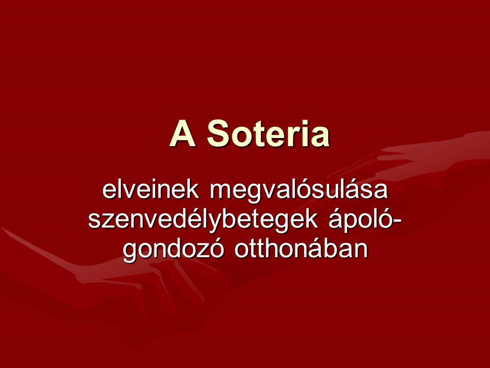 """Soteria története Jelentése: """"újjászületés , """"megszabadulás Megálmodója: Loren Moscher amerikai pszichiáter Első európai képviselője: Luc Ciompi- Svájc Elmélet képviselői Magyarországon: Feldmár András, Dr."""