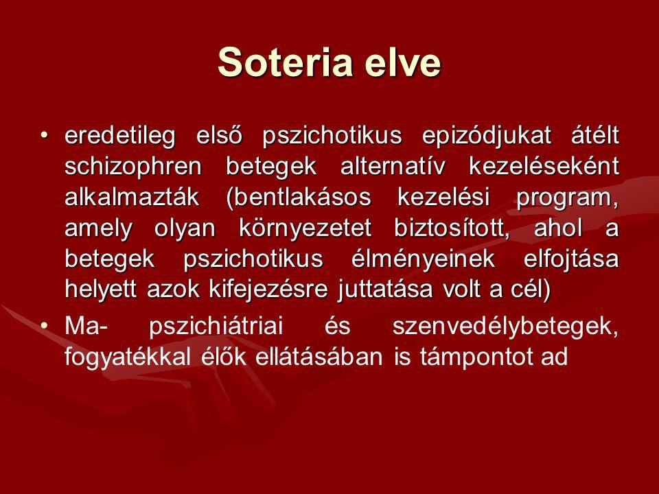 Soteria elve eredetileg első pszichotikus epizódjukat átélt schizophren betegek alternatív kezeléseként alkalmazták (bentlakásos kezelési program, amely olyan környezetet biztosított, ahol a betegek pszichotikus élményeinek elfojtása helyett azok kifejezésre juttatása volt a cél)eredetileg első pszichotikus epizódjukat átélt schizophren betegek alternatív kezeléseként alkalmazták (bentlakásos kezelési program, amely olyan környezetet biztosított, ahol a betegek pszichotikus élményeinek elfojtása helyett azok kifejezésre juttatása volt a cél) Ma- pszichiátriai és szenvedélybetegek, fogyatékkal élők ellátásában is támpontot ad