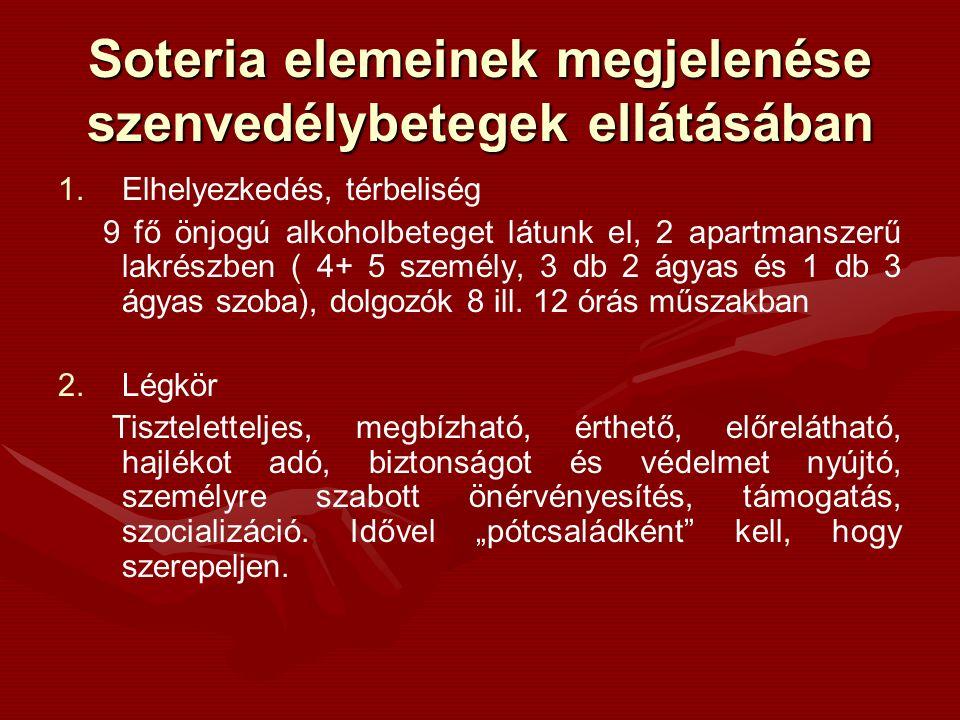 Soteria elemeinek megjelenése szenvedélybetegek ellátásában 1. 1.Elhelyezkedés, térbeliség 9 fő önjogú alkoholbeteget látunk el, 2 apartmanszerű lakré
