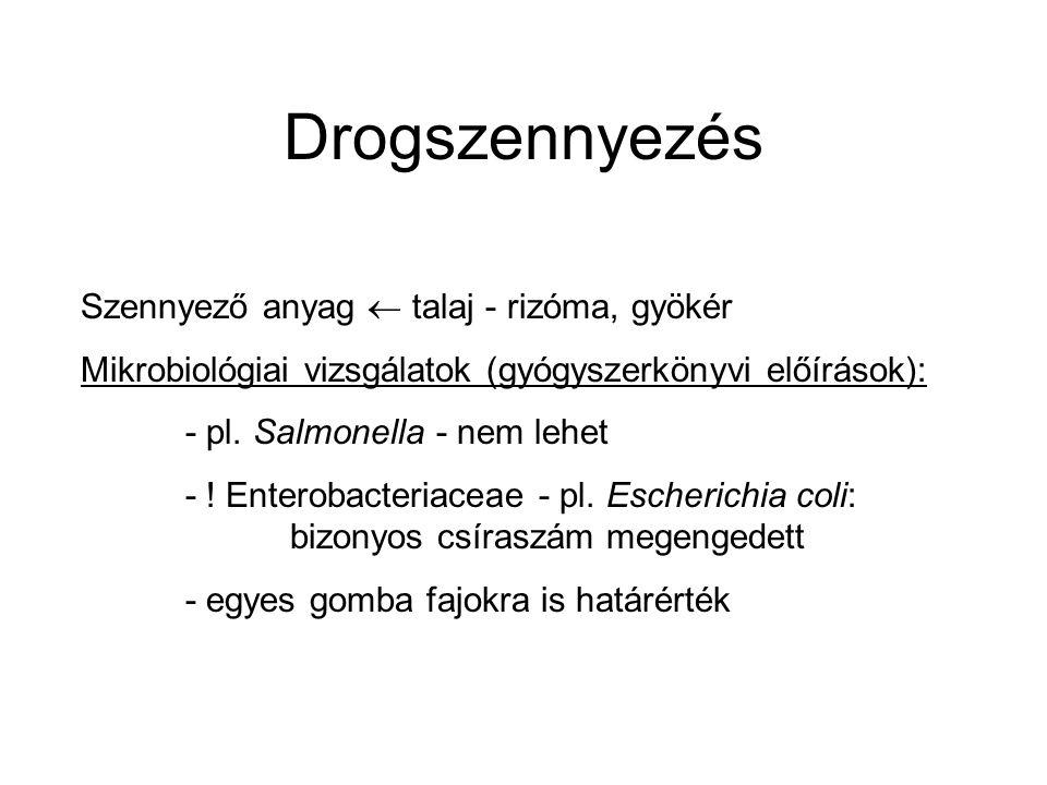 Drogszennyezés Szennyező anyag  talaj - rizóma, gyökér Mikrobiológiai vizsgálatok (gyógyszerkönyvi előírások): - pl.