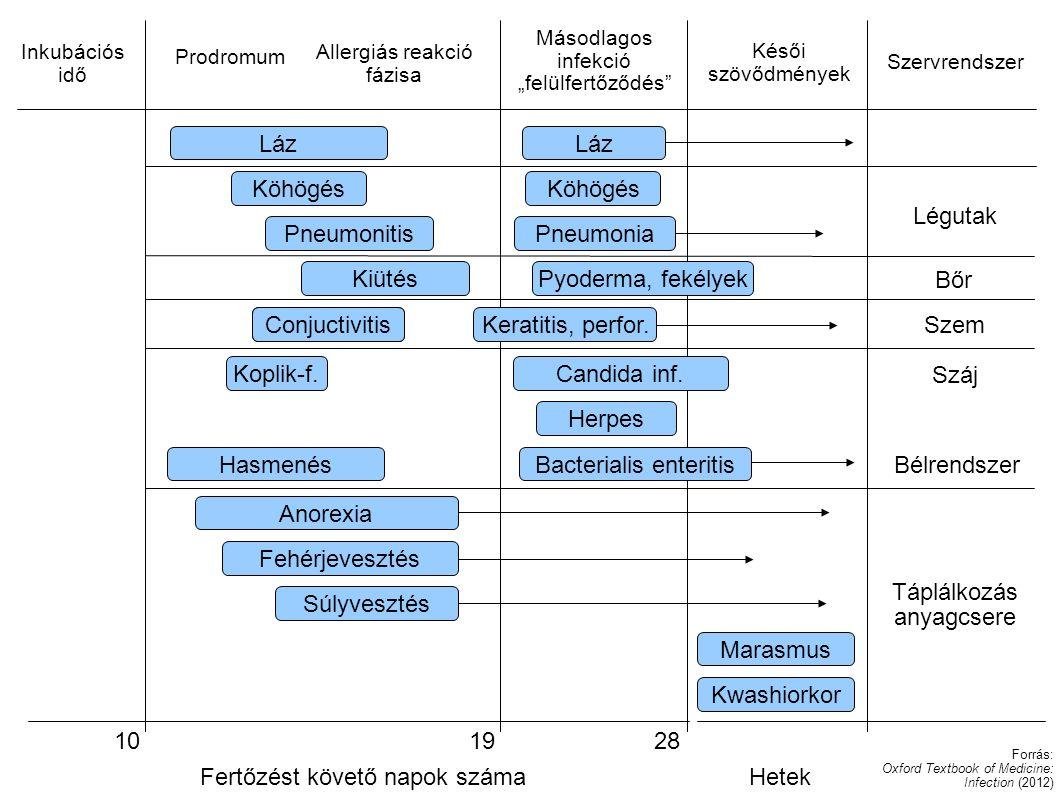"""Láz Inkubációs idő Prodromum Allergiás reakció fázisa Másodlagos infekció """"felülfertőződés"""" Késői szövődmények Szervrendszer Láz Köhögés PneumonitisPn"""