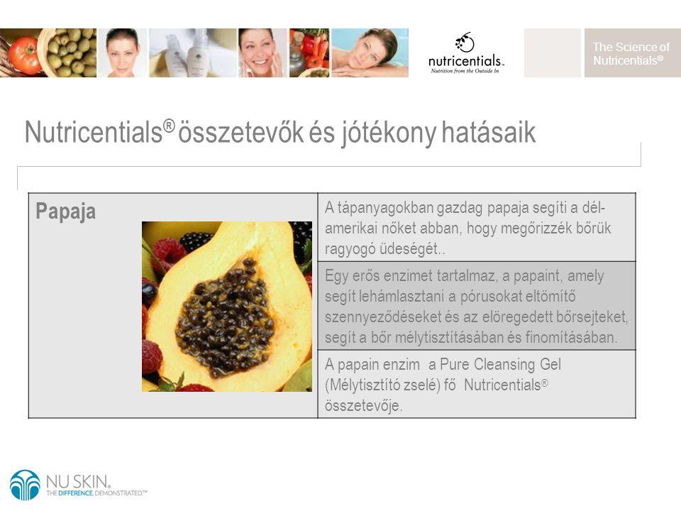 The Science of Nutricentials ® Nutricentials ® összetevők és jótékony hatásaik Papaja A tápanyagokban gazdag papaja segíti a dél- amerikai nőket abban