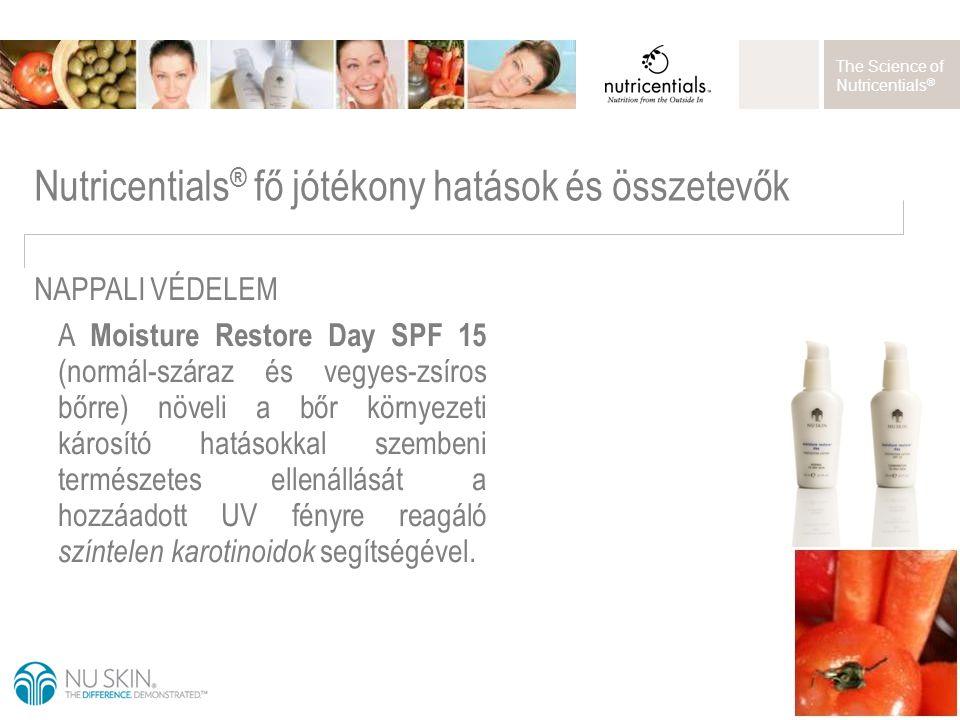 The Science of Nutricentials ® A Moisture Restore Day SPF 15 (normál-száraz és vegyes-zsíros bőrre) növeli a bőr környezeti károsító hatásokkal szembe