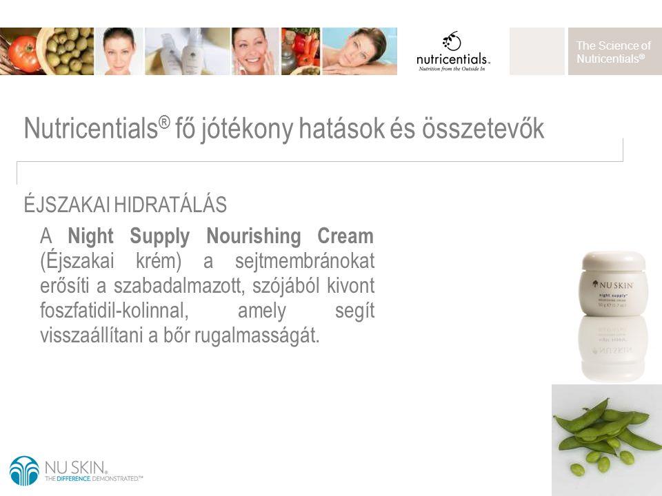 The Science of Nutricentials ® A Night Supply Nourishing Cream (Éjszakai krém) a sejtmembránokat erősíti a szabadalmazott, szójából kivont foszfatidil