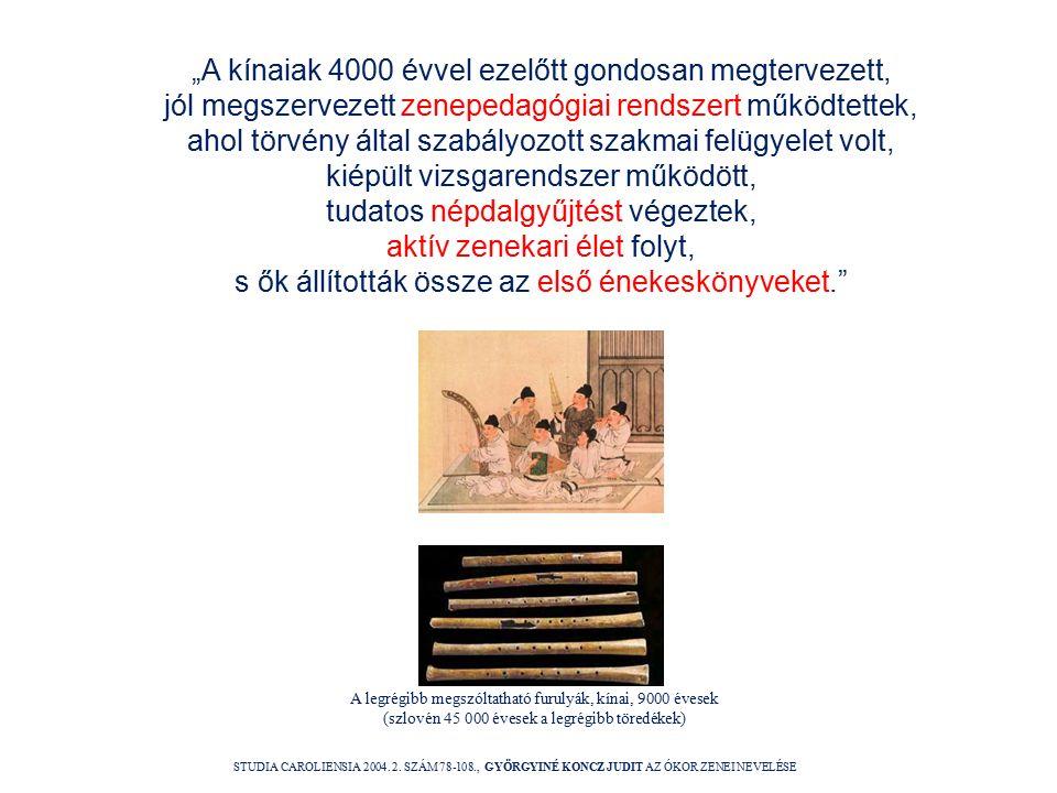 """""""A kínaiak 4000 évvel ezelőtt gondosan megtervezett, jól megszervezett zenepedagógiai rendszert működtettek, ahol törvény által szabályozott szakmai felügyelet volt, kiépült vizsgarendszer működött, tudatos népdalgyűjtést végeztek, aktív zenekari élet folyt, s ők állították össze az első énekeskönyveket. STUDIA CAROLIENSIA 2004."""