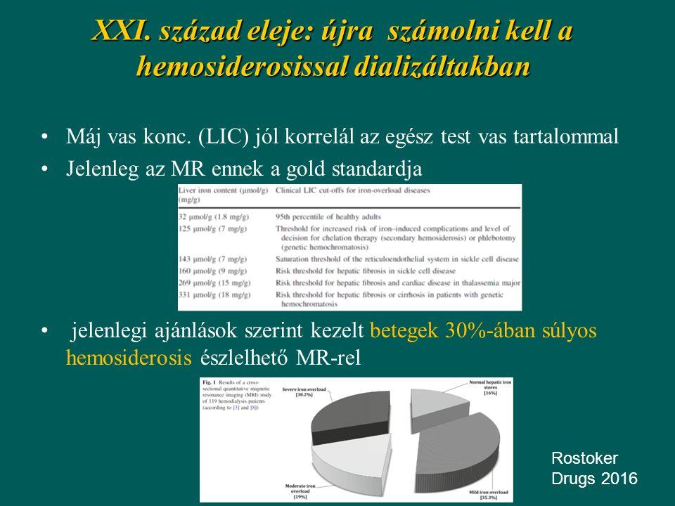 XXI. század eleje: újra számolni kell a hemosiderosissal dializáltakban Máj vas konc. (LIC) jól korrelál az egész test vas tartalommal Jelenleg az MR
