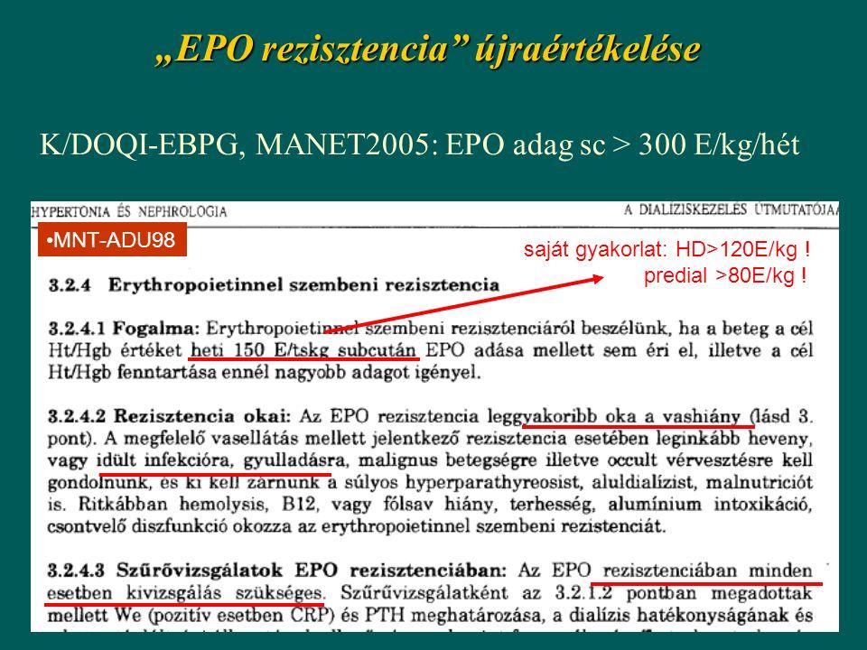"""""""EPO rezisztencia"""" újraértékelése K/DOQI-EBPG, MANET2005: EPO adag sc > 300 E/kg/hét MNT-ADU98 saját gyakorlat: HD>120E/kg ! predial >80E/kg !"""