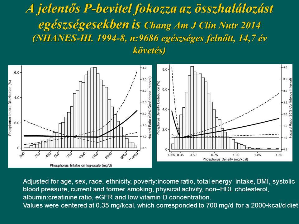 A jelentős P-bevitel fokozza az összhalálozást egészségesekben is Chang Am J Clin Nutr 2014 (NHANES-III. 1994-8, n:9686 egészséges felnőtt, 14,7 év kö