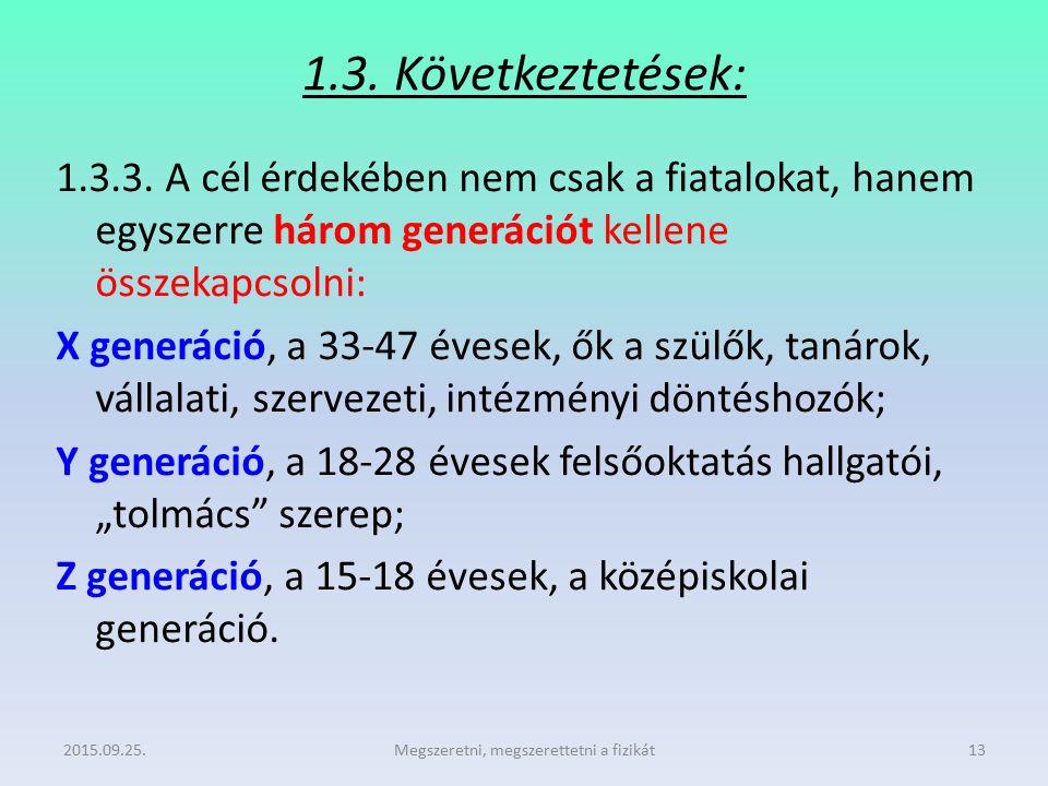 1.3. Következtetések: 1.3.3. A cél érdekében nem csak a fiatalokat, hanem egyszerre három generációt kellene összekapcsolni: X generáció, a 33-47 éves