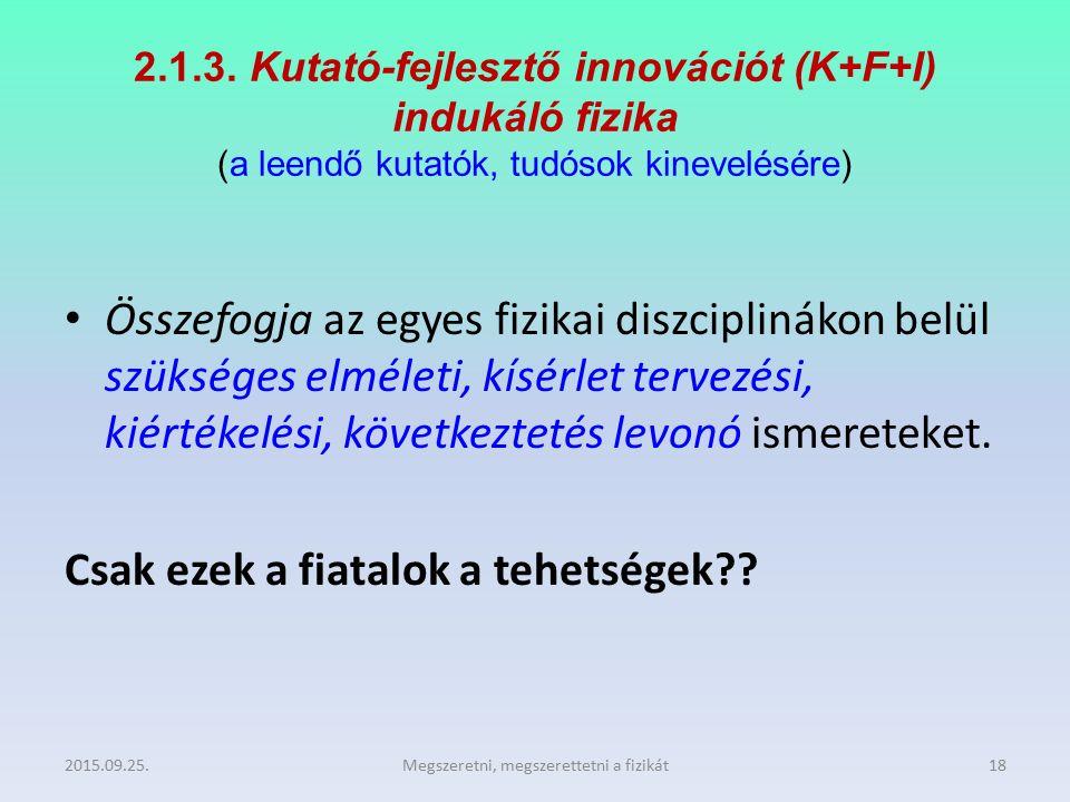 2.1.3. Kutató-fejlesztő innovációt (K+F+I) indukáló fizika (a leendő kutatók, tudósok kinevelésére) Összefogja az egyes fizikai diszciplinákon belül s