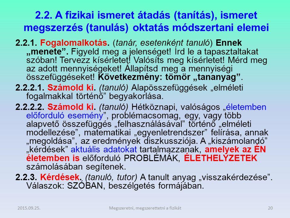2.2. A fizikai ismeret átadás (tanítás), ismeret megszerzés (tanulás) oktatás módszertani elemei 2.2.1. Fogalomalkotás. (tanár, esetenként tanuló) Enn
