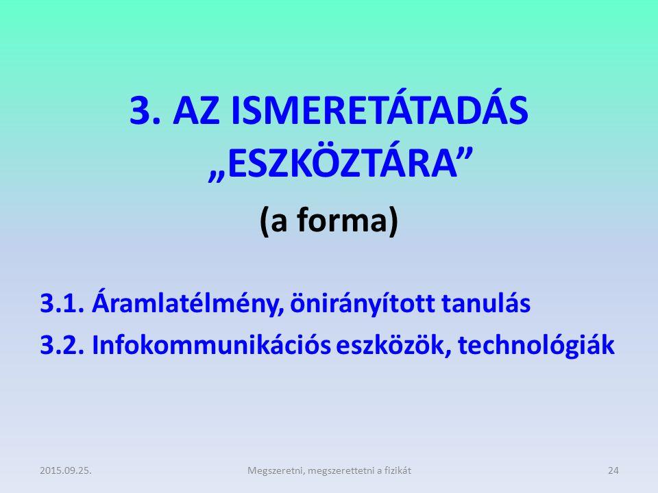 """3. AZ ISMERETÁTADÁS """"ESZKÖZTÁRA"""" (a forma) 3.1. Áramlatélmény, önirányított tanulás 3.2. Infokommunikációs eszközök, technológiák 2015.09.25.Megszeret"""