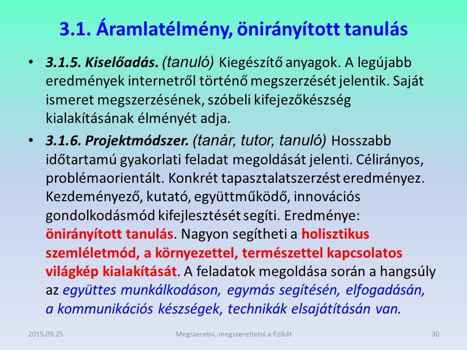 3.1. Áramlatélmény, önirányított tanulás 3.1.5. Kiselőadás. (tanuló) Kiegészítő anyagok. A legújabb eredmények internetről történő megszerzését jelent