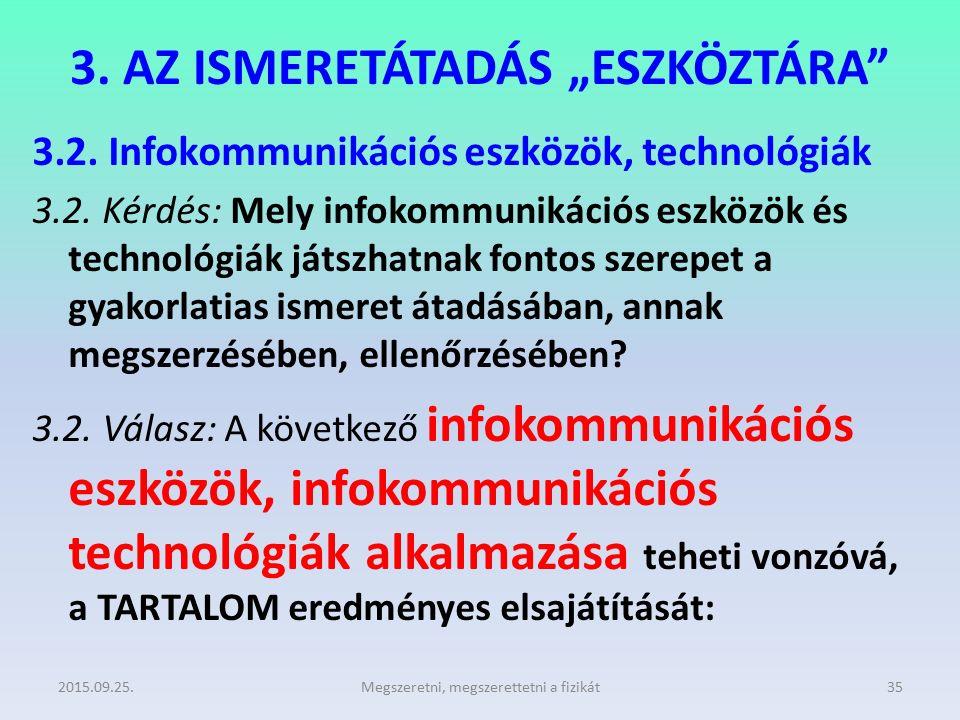 """3. AZ ISMERETÁTADÁS """"ESZKÖZTÁRA"""" 3.2. Infokommunikációs eszközök, technológiák 3.2. Kérdés: Mely infokommunikációs eszközök és technológiák játszhatna"""