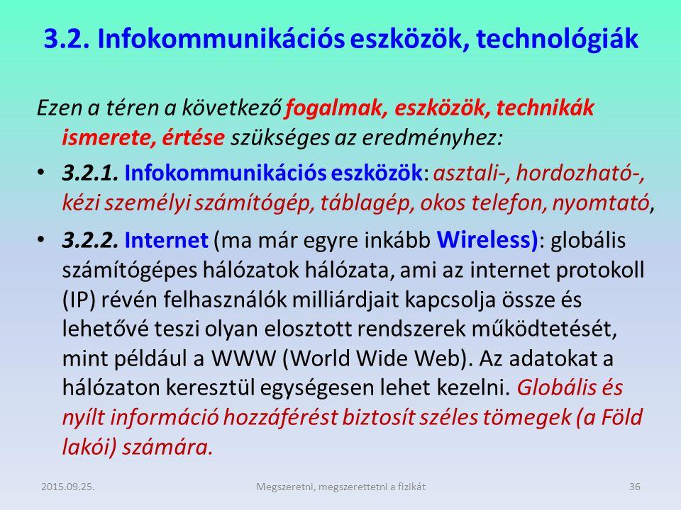 3.2. Infokommunikációs eszközök, technológiák Ezen a téren a következő fogalmak, eszközök, technikák ismerete, értése szükséges az eredményhez: 3.2.1.