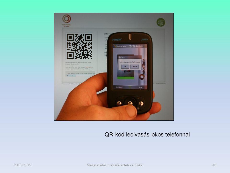 2015.09.25.Megszeretni, megszerettetni a fizikát40 QR-kód leolvasás okos telefonnal