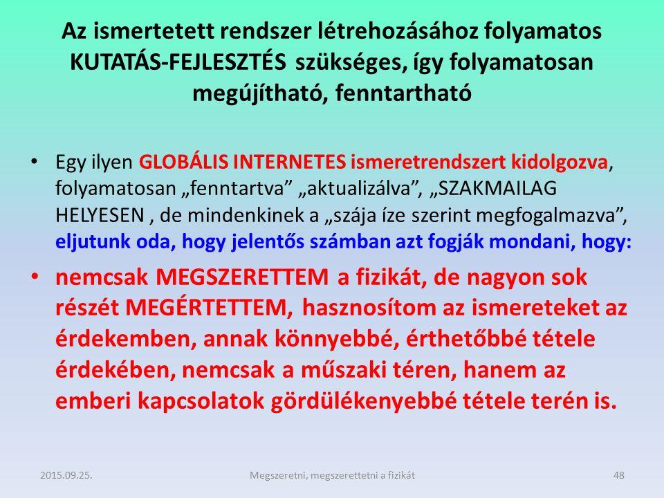 Az ismertetett rendszer létrehozásához folyamatos KUTATÁS-FEJLESZTÉS szükséges, így folyamatosan megújítható, fenntartható Egy ilyen GLOBÁLIS INTERNET