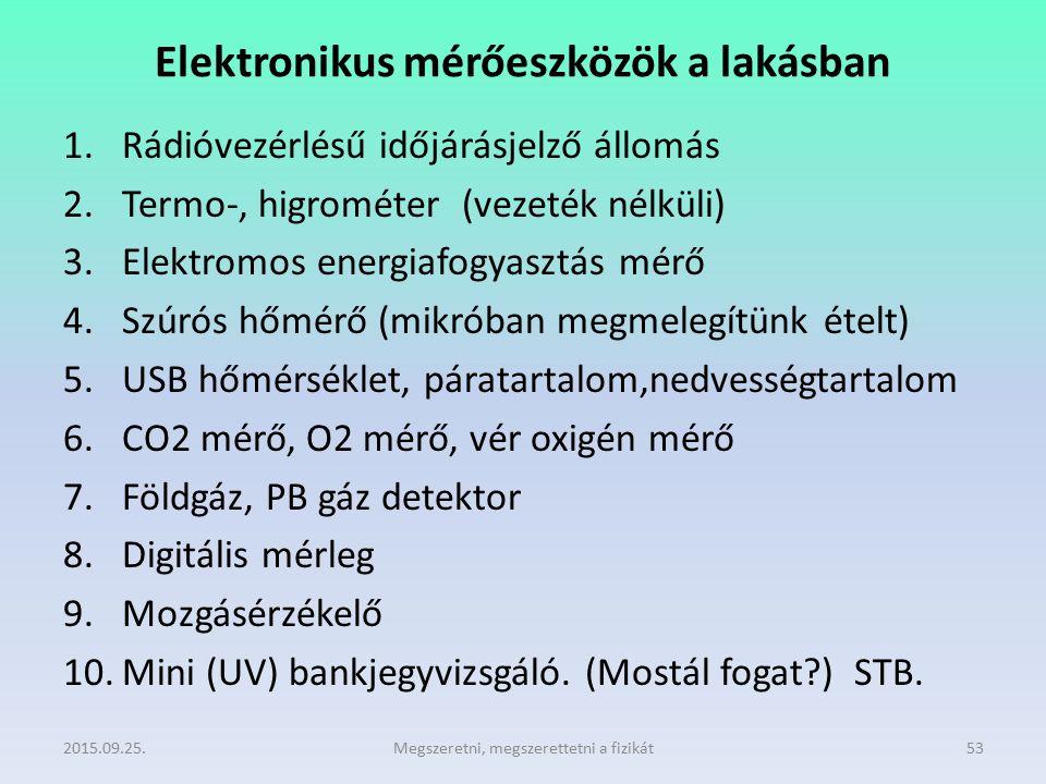 Elektronikus mérőeszközök a lakásban 1.Rádióvezérlésű időjárásjelző állomás 2.Termo-, higrométer (vezeték nélküli) 3.Elektromos energiafogyasztás mérő