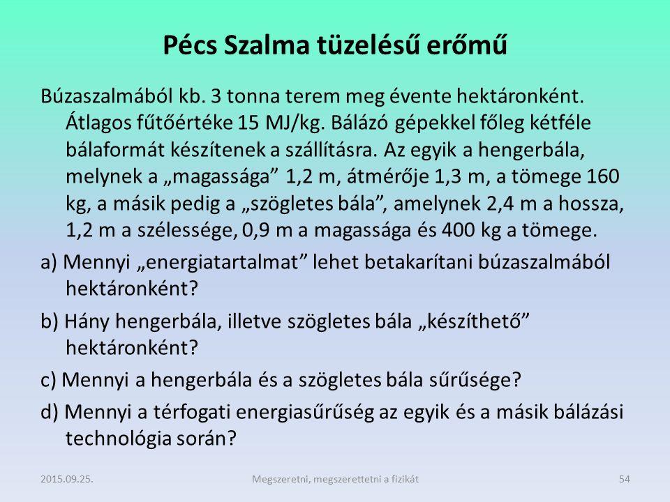 Pécs Szalma tüzelésű erőmű Búzaszalmából kb. 3 tonna terem meg évente hektáronként. Átlagos fűtőértéke 15 MJ/kg. Bálázó gépekkel főleg kétféle bálafor