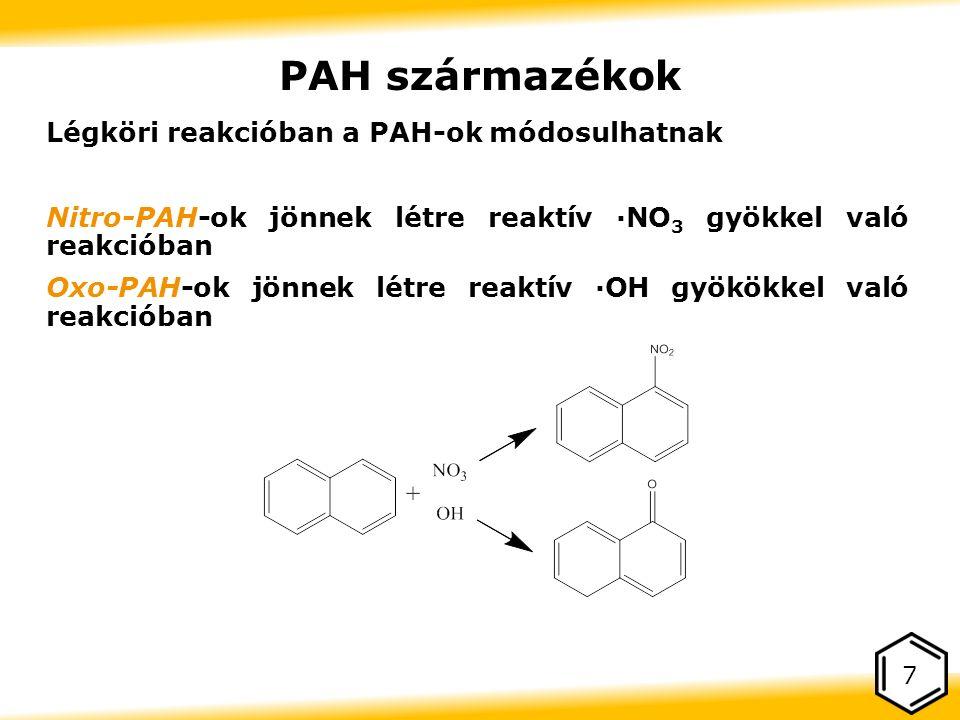 PAH származékok Légköri reakcióban a PAH-ok módosulhatnak Nitro-PAH-ok jönnek létre reaktív ·NO 3 gyökkel való reakcióban Oxo-PAH-ok jönnek létre reaktív ·OH gyökökkel való reakcióban 7