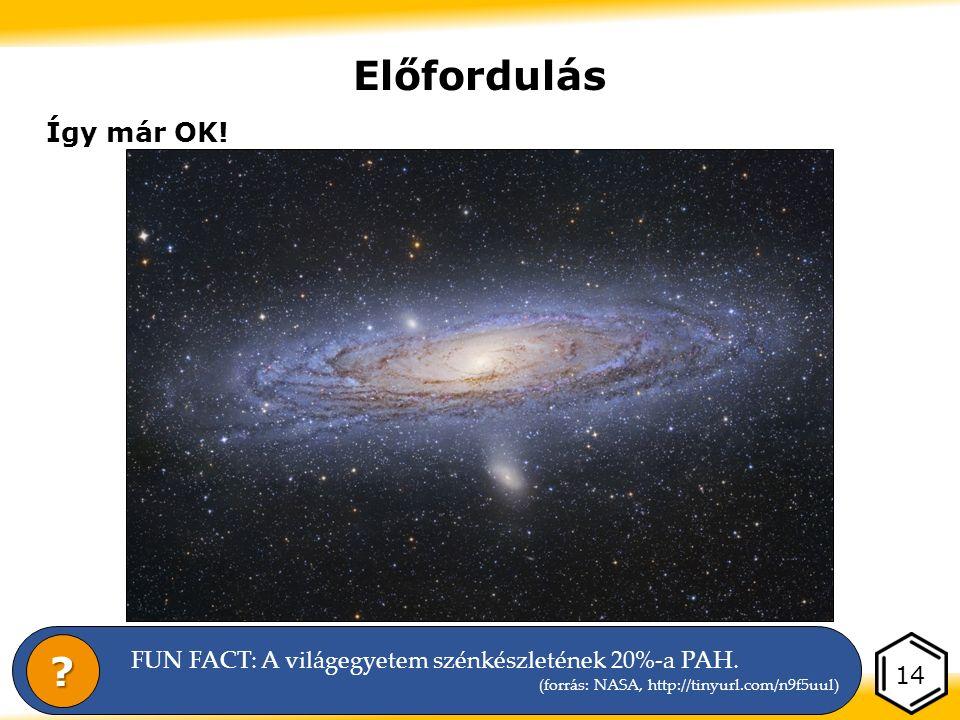Előfordulás Így már OK. 14 FUN FACT: A világegyetem szénkészletének 20%-a PAH.