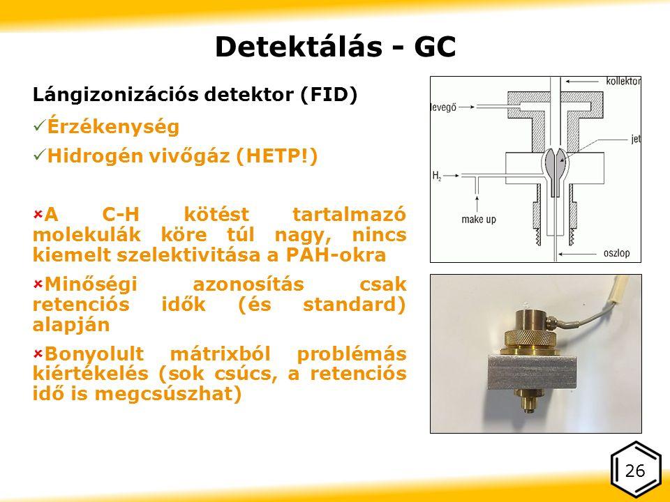 Lángizonizációs detektor (FID) Érzékenység Hidrogén vivőgáz (HETP!)  A C-H kötést tartalmazó molekulák köre túl nagy, nincs kiemelt szelektivitása a PAH-okra  Minőségi azonosítás csak retenciós idők (és standard) alapján  Bonyolult mátrixból problémás kiértékelés (sok csúcs, a retenciós idő is megcsúszhat) 26 Detektálás - GC