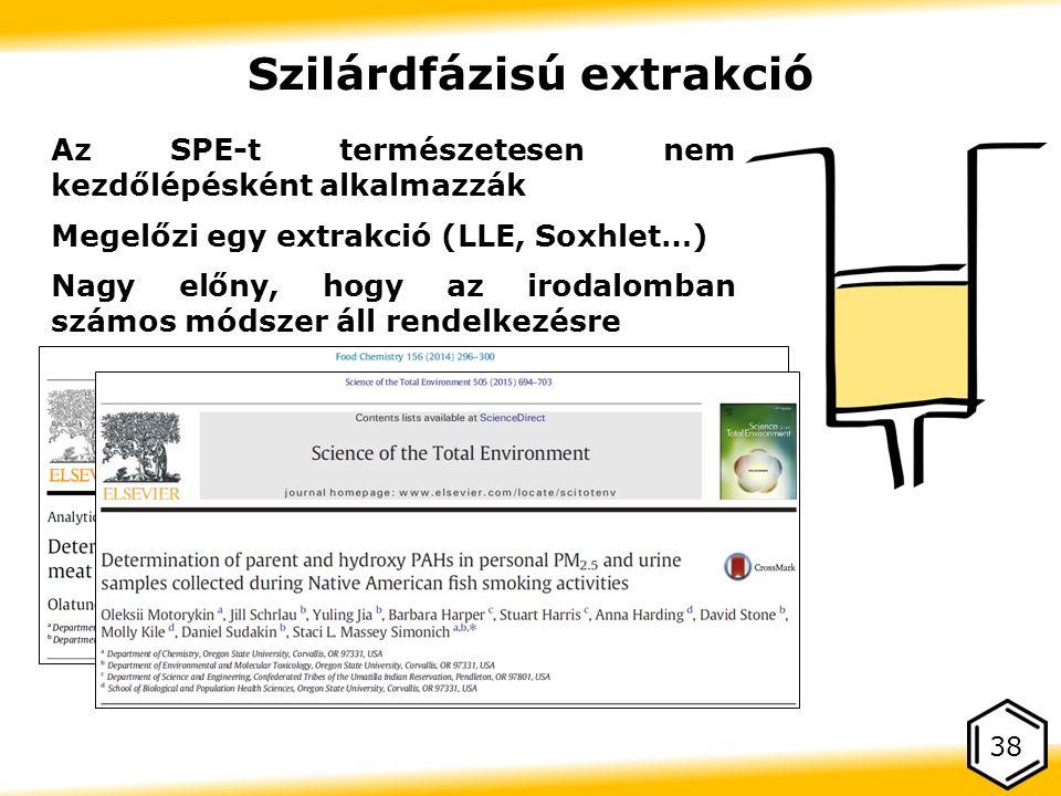 Az SPE-t természetesen nem kezdőlépésként alkalmazzák Megelőzi egy extrakció (LLE, Soxhlet…) Nagy előny, hogy az irodalomban számos módszer áll rendelkezésre 38 Szilárdfázisú extrakció