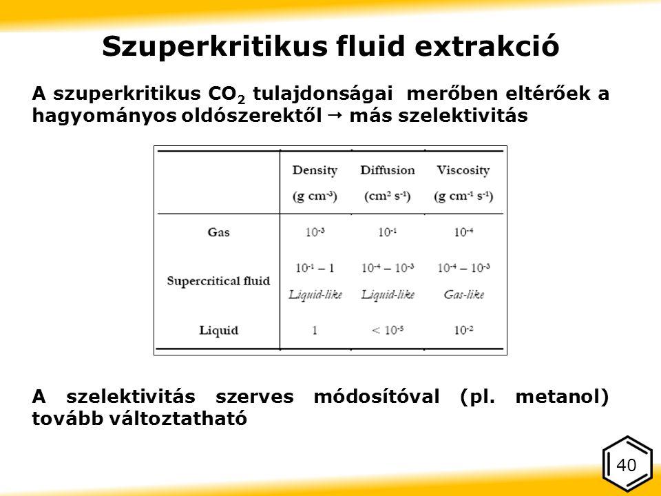 A szuperkritikus CO 2 tulajdonságai merőben eltérőek a hagyományos oldószerektől  más szelektivitás A szelektivitás szerves módosítóval (pl.