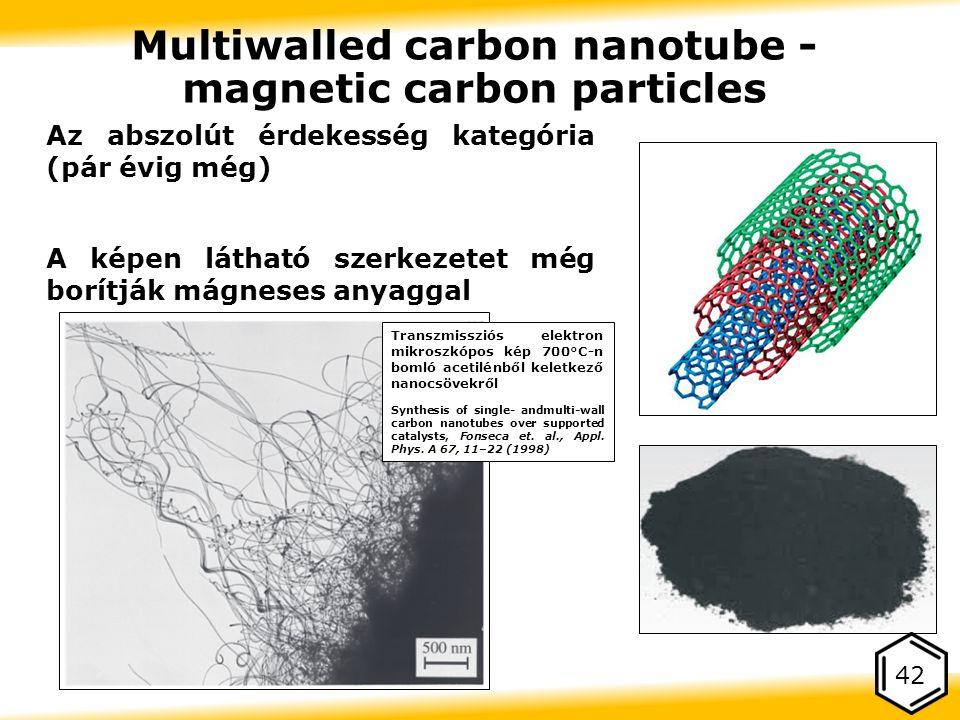 Az abszolút érdekesség kategória (pár évig még) A képen látható szerkezetet még borítják mágneses anyaggal 42 Multiwalled carbon nanotube - magnetic carbon particles Transzmissziós elektron mikroszkópos kép 700°C ‑ n bomló acetilénből keletkező nanocsövekről Synthesis of single- andmulti-wall carbon nanotubes over supported catalysts, Fonseca et.