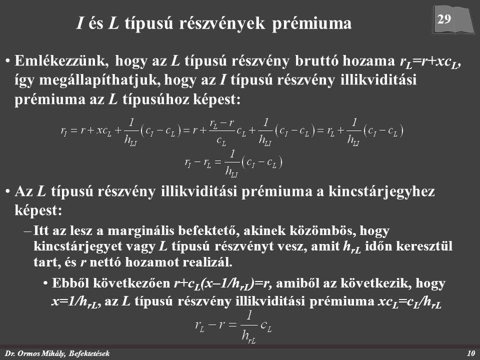 Dr. Ormos Mihály, Befektetések10 I és L típusú részvények prémiuma Emlékezzünk, hogy az L típusú részvény bruttó hozama r L =r+xc L, így megállapíthat